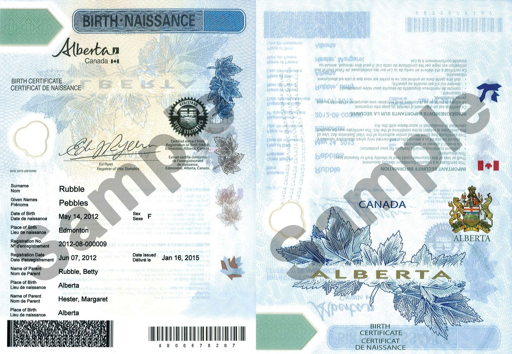 certificates birth alberta eservices twins examples registry